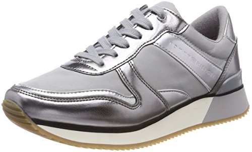 Tommy Hilfiger Damen METALLIC Sneaker Grau (Light Grey 004) 40 EU