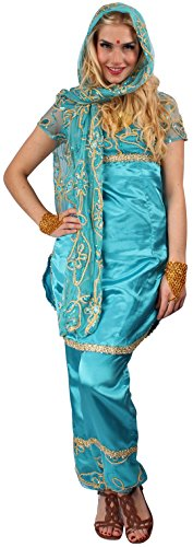 Bollywood Kostüm türkis-gold für Damen | Größe 44 | 3-teiliges Bauchtanz Kostüm für Karneval | Inderin Sari Faschingskostüm für (Kostüm Indien Für Frauen)