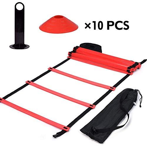 GLOGLOW Agility Ladder Set, Speed Training Ladder 9Ft Flachleiter + 10pcs Kegelscheibe zur Koordination, Fußarbeit, Sporttraining -