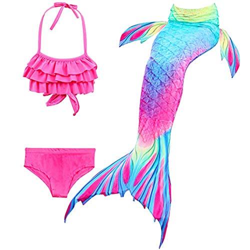 Hejin Mädchen Meerjungfrauenschwanz 3pcs Meerjungfrauen Bikini Kostüm Meerjungfrau - Schwimmen Kostüm Weiter