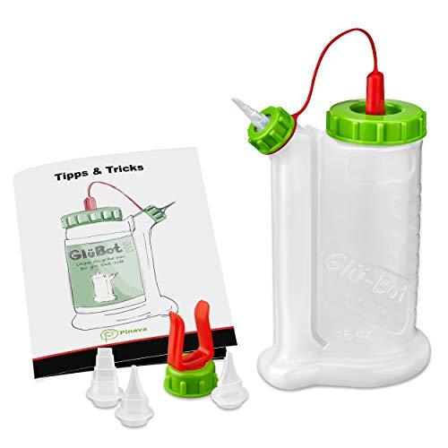 Pinava Leimflasche - Original GluBot (ca. 500ml) von FastCap [NEU] Pinava Edition 8er Set - Sauberes & Präzises Auftragen von Holzleim - Leimspender leer - Quetschflasche für Leim & Klebstoffe -