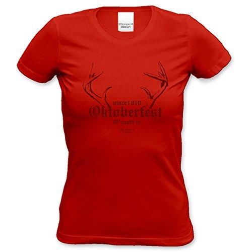 Damen-T-Shirt-Girlie-Shirt :-: Volksfest-Fasching-Karneval-Oktoberfest-Outfit-Kostüm :-: Since 1810 Oktoberfest :-: Geschenkidee :-: Muttertag Geburtstag :-: Farbe: rot Gr: (Kostüme 1810)