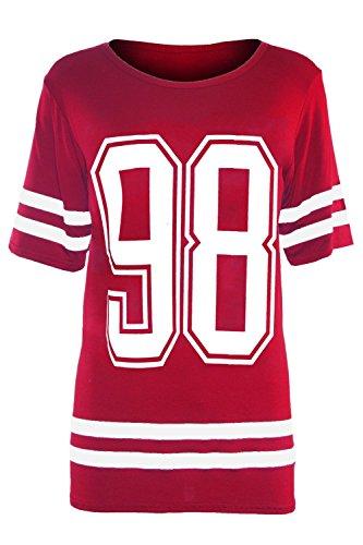 Be Jealous Damen T-Shirt 98 Print Red - College Varsity Sweats Top Icon (Womens Icon-t-shirt)
