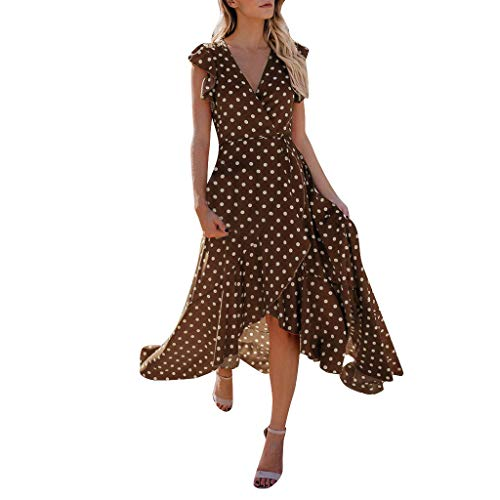 Yvelands Sommerkleider Damen Maxi Kleid Off Shoulder Abendkleid Strandkleid Party Schulter Kleider Schulterfrei Strand Spielanzug Boho (Braun,S)