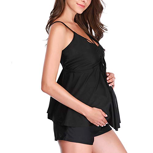 havecolor Umstands-Tankini-Schwangerschafts-Bademode Zweiteiler-Badeanzug für Schwangere Bandeau-Tankini-Set Bikini Set Muster-Punkte Große Größen Strandkleider (M, Schwarz)