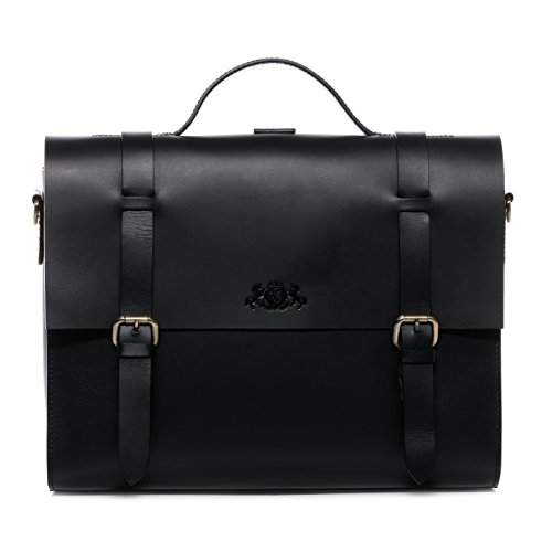 SID & VAIN Aktentasche echt Leder Boston Duo groß Laptoptasche Multifunktionstasche 15 Zoll Laptop Rucksack-Funktion schwarz -