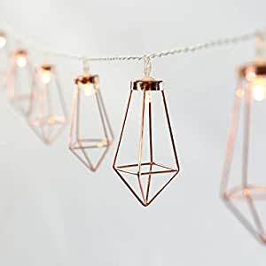 Guirlande Lumineuse Décorative Style Scandinave - 10 Mini Lanternes Métal Couleur Cuivre Éclairage LED Blanc Chaud sur Câble Transparent Flexible à Piles On/Off Auto - 1,80 Mètre