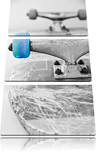 Skateboard schwarz weiß schwarz/weiß 3-Teiler Leinwandbild 120x80 Bild auf Leinwand, XXL riesige Bilder fertig gerahmt mit Keilrahmen, Kunstdruck auf Wandbild mit Rahmen, günstiger als Gemälde oder Ölbild, kein Poster oder Plakat
