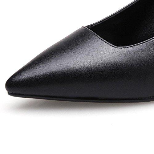 W&LMappuntito Scarpe singole Femmina Bocca poco profonda Basso aiuto scarpa Fine con Femmina Tacchi alti vera pelle Posto di lavoro Sala da ballo raduno Black