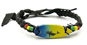 Bracelet Cuir femme homme dauphin rasta Biker en os topt planche de surf