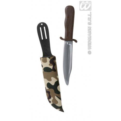 Widmann 6985D, Militär - Messer, Safari - Messer, Outdoor- oder Soldaten - Messer mit Scheide zu den geeigneten Kostümen, Größe: ca. 28,0 x 1,5 x 5,5 cm aus - Bandito Kinder Kostüm