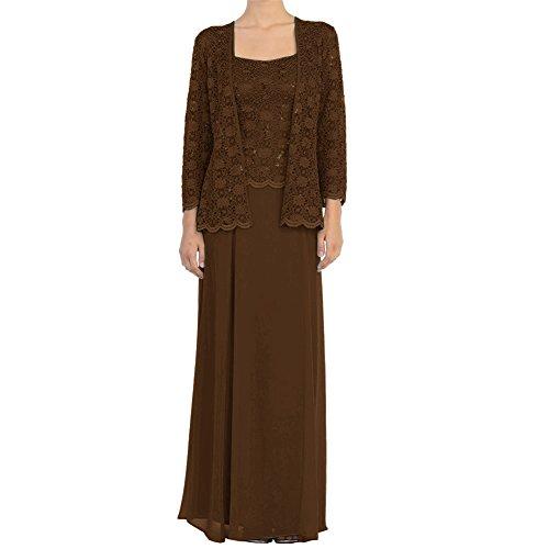 HWAN Mutter der Braut Kleid Chiffon lange formale Kleider mit Spitze Jacken Wraps Schokolade (Kleid Wrap Chiffon Halfter)