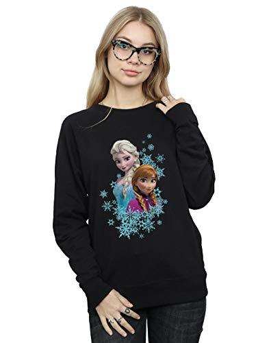 Disney Damen Frozen ELSA and Anna Sisters Sweatshirt Schwarz Medium