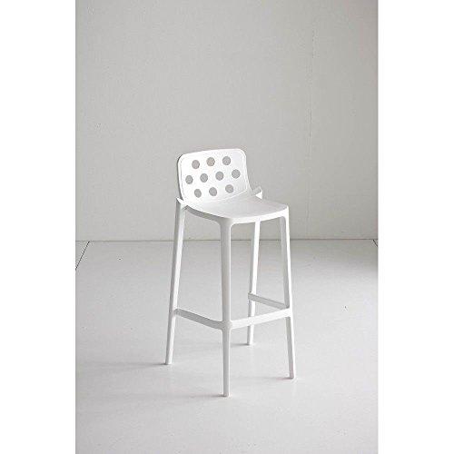 Gaber 4tabourets Isidoro 76polimero-metallo empilable blanc haut Bar Design