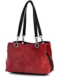 77431e38cf Big Handbag Shop Womens Small Twin Top Multi Zip Pockets Suede Leather  Shoulder Bag (Beige - Black…