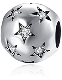 HMILYDYK con cristales de Swarovski Element 925plata de ley cuentas redondas de cristal blanco estrella Pave ajuste Pandora pulsera