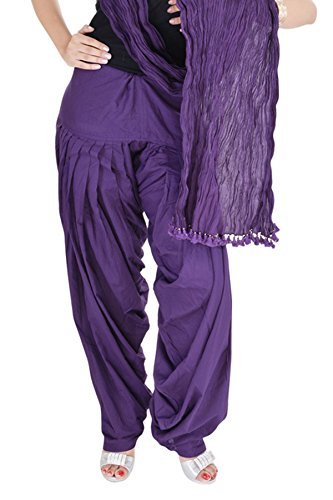 Kurti Studio Women\'s Cotton Semi Patiala Salwar with Dupatta (semipdup05_Purple_Free Size)