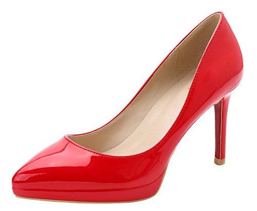 Guoar High Heels Spitze Zehen Abendschuhe Klassik Damen Rutsch Stiletto Pumps mit Plateau Büro-Dame Party Hochzeit Rot Lackleder