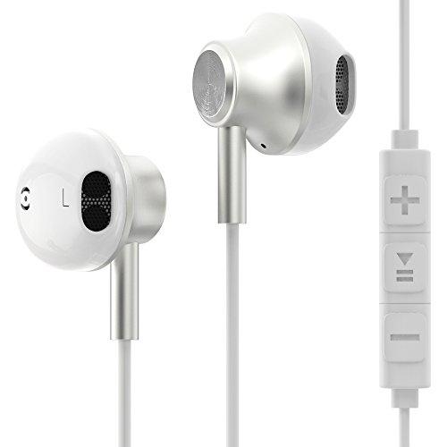 Adapter Wireless Headset Sony (esorio® Kopfhörer In Ear mit Lautstärkeregler + Mikrofon für Apple iOS + Android in weiss)