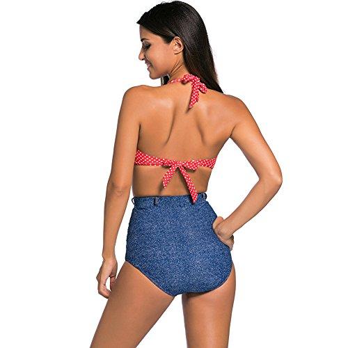 PU&PU Frauen Plus Size Halter Bikinis Polka Dots High Rise Zwei Stück Set Badeanzug Wireless Gepolsterte BH Rot Blue