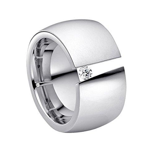 Heideman Ring Damen Aditus aus Edelstahl Silber farbend poliert Damenring für Frauen mit Swarovski Stein Zirkonia Weiss im Brillant Schliff 3mm