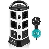 Multiprise USB avec 10 Prises Electrique et 4 Ports USB, Tour Multiprise Parasurtenseur Parafoudre, 2500W/10A, 3M Câble, Noir et Blanc