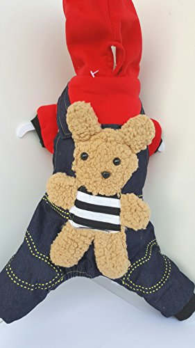 SGP-Pet Dog Cat cucciolo caldo tutina salopette con felpa rossa e orsacchiotto maglioni cappotto imbottito per il freddoCostume i vestiti Abbigliamento animali cane gatto