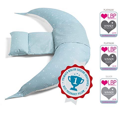 Nuvita 7100 DreamWizard Cojin Lactancia & Almohada Embarazo - 12 en 1 con Soporte Lumbar Ajustable - Funda 100% Algodon Desenfundable y Lavable - Con Microperlas - Hecho en Italia (Grey Star)