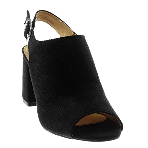 Mule Mode 8 boucle Ouverte lanière perforée CM Toe arrière Chaussure haut Talon 5 Peep bloc Escarpin Noir femme Angkorly SqxwtF45