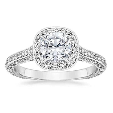 1,35ct Solitaire Engagement Jahrestag Ring Rundschliff 14K Weiß Gold Lab Erstellt Diamant Größe I, J, K L M N O P Q R S T - 52 (16.6)
