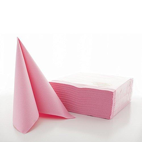 Sovie HORECA Airlaid-Servietten 40x40 cm / hochwertige Einweg-Servietten / extrem saugstark und stoffähnlich / ideal für Hochzeit & Partys / 50 Stück / Rosa
