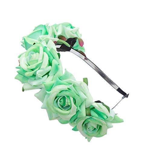 AWAYTR Mädchen Braut Blumenkrone Stirnband Haarband Blumen Girlande Kopfstück zum Hochzeit Parteien (Grün) (Kinder Haar Accessoires)