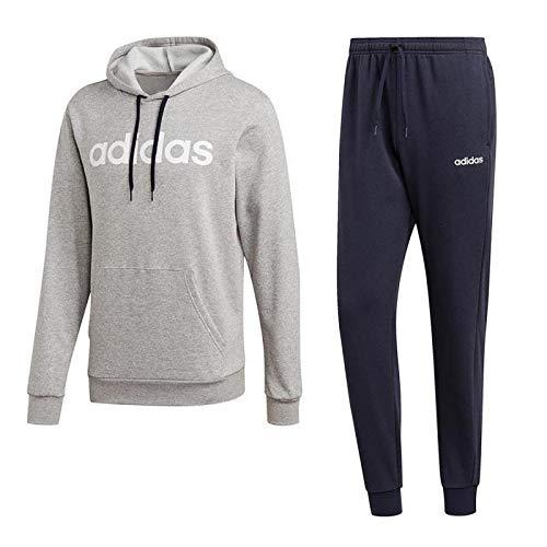 adidas Hooded Tracksuit Cotton Tuta Uomo Medium Grey Heather/Legend Ink/Bianco M