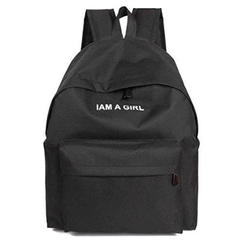 Bolso, Manadlian Unisexo Mochila de lona Niños niñas Mochila escolar Bolsa de hombro (40*32*12cm(L*H*D), Negro)