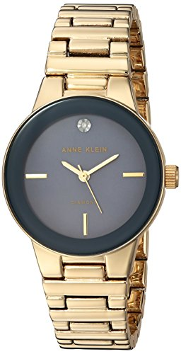 Anne Klein Women's AK/2670GMGB Diamond-Accented Gold-Tone Bracelet Watch