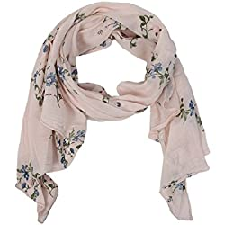 Zwillingsherz Seiden-Tuch Damen Blumen Muster - Made in Italy - Eleganter Sommer-Schal für Frauen - Hochwertiges Seidentuch/Seidenschal - Halstuch und Chiffon-Stola Dezent Stilvoller Print rosa