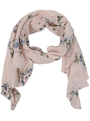 Zwillingsherz Seiden-Tuch mit Blumen Muster - Hochwertiger Schal für Damen Mädchen - Halstuch - tuchschal - Loop - weicher Schlauchschal für Sommer Herbst und Winter von Cashmere Dreams rosa