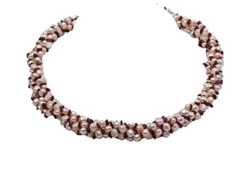 jyx 5–6 mm natur weiß Süßwasser Perle mit Rot Granat Chips Opera Halskette