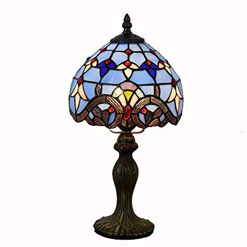 HLGY Tiffany Farbe Tischlampe - Blau Barock Glas Tischlampe Für Wohnzimmer Esszimmer Schlafzimmer Nachttischlampe Bar Beleuchtung