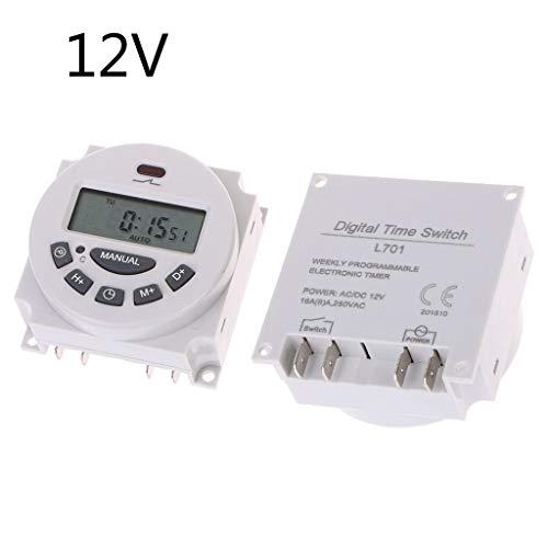 Jenor Elektronischer Zeitschaltuhr DC12 V AC 220 V digital LCD wöchentlich programmierbar -
