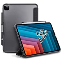 TineeOwl Mocha iPad Pro 11 2020 & 2018 (2nd & 1st Generation), Ultra-Slim Clear Case with Pencil Holder + Tri-fold Stand Cover, Absorbs Shock, Lightweight (Black/Matte Back)