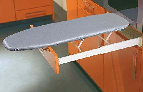 Bügelbrett Klappbar Ironfix Bügeltisch-Bezug graue Steifen | Klapptisch ausziehbar | Schubkasten-Bügelbrett für die Schubkastenfront | Bügeltisch inkl. Vollauszug, Bügel-Bezug und Befestigungsset