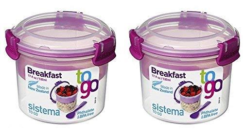 Müsli To Go SET, Aufbewahrungsbehälter für Lebensmittel mit Unterteilung, 2x530 ml, rosa