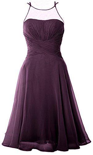 MACloth Elegant Illusion Short Cocktail Dress Chiffon Wedding Party Formal Gown Prune