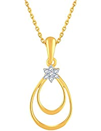 Silvernshine Diamond Accent 14k Yellow Gold Fn .925 Double Pear Shaped Drop Pendant Necklace