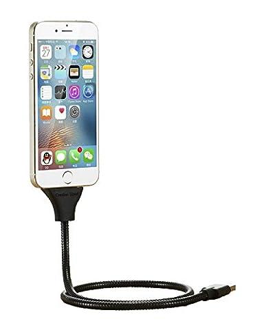 Flexibles Twister USB Ladekabel in Titanoptik Ladestation Dockngstation Metall KFZ Ladebuchse Datenkabel für Android und Apple Auto Ständer Tablet Halterung Handy Kabel - FÜR APPLE in