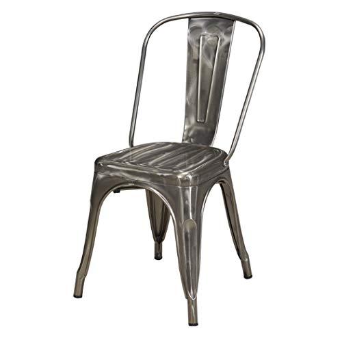 Duhome 1x Esszimmerstuhl Metallic glänzend Silber Stuhl aus Metall/Eisen Farbauswahl Küchenstuhl stapelbar, robust & zeitlos 666