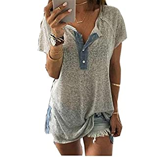 Damen Kurzarm Blusen T-Shirt O-Ausschnitt Button Wild Tops Mode Strandurlaub Dating Casual Sommer Lose Button Oberteile Basic Retro Hemd zu Boden Shirts Blusenshirt (M, Grau)