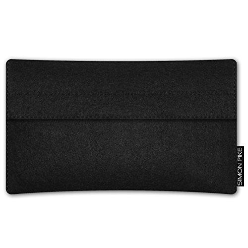 SIMON PIKE Apple iPhone 7 / 6 / 6S Filztasche Case Hülle 'NewYork' in elefantengrau 1, passgenau maßgefertigte Filz Schutzhülle aus echtem Natur Wollfilz, dünne Tasche im schlanken Slim Fit Design für schwarz Filz (Muster 16)