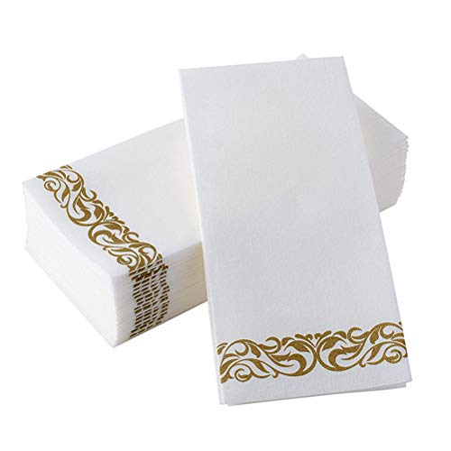 Toyvian Papierservietten - 50er Pack Golden Floral Bedruckte Servietten Birthday Party verdicken Papierhandtuch Rechteck Taschentuch für Hochzeit Party Decor (40x30cm) (Hochzeit Servietten Benutzerdefinierte)